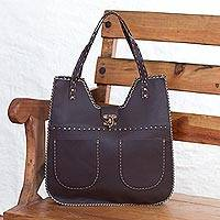 Leather shoulder bag, 'Espresso Delight' - Brown Leather Shoulder Bag from Guatemala
