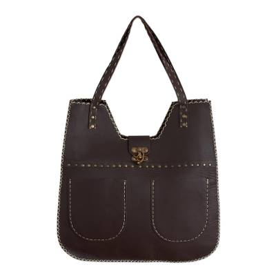 Brown Leather Shoulder Bag from Guatemala