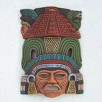 Ceramic mask, 'Mayan Pyramid' - Hand Painted Ceramic Mayan Wall Mask from Mexico