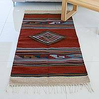Wool area rug, 'Spice Diamond' (5 x 2.5 feet) - Hand Woven Geometric Wool Area Rug from Mexico