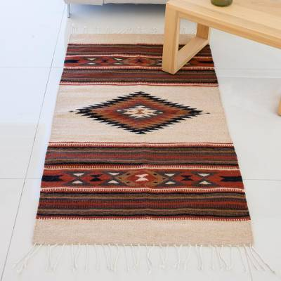 Wool area rug, 'Oaxacan Land' (5 x 2.5 feet) - Hand Woven Geometric Wool Area Rug in Spice from Mexico