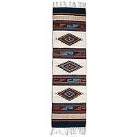 Wool runner rug, 'Three Diamond Lane' (5 x 1.5 feet) - Geometric Wool Runner Rug in Antique White from Mexico