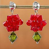 Crystal dangle earrings, 'Shooting Stars in Red' - Sterling Silver Swarovski Crystal Dangle Earrings Mexico