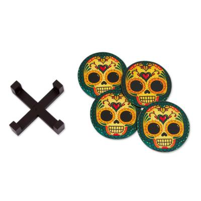 4 Day of the Dead Smiling Skulls Decoupage Wood Coaster Set