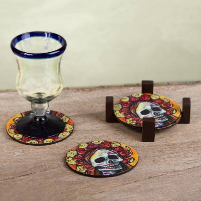 Decoupage wood coasters, 'Skeleton Bride' (set of 4) - Pinewood Coasters with Base Skull (Set of 4) from Mexico