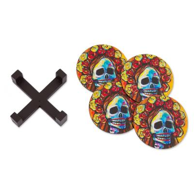 Pinewood Coasters with Base Skull (Set of 4) from Mexico