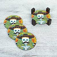 Decoupage wood coasters, 'Mustachioed Skull' - Day of the Dead Decoupage Pinewood Coasters from Mexico
