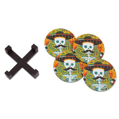 Day of the Dead Decoupage Pinewood Coasters from Mexico