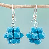 Crystal dangle earrings, 'Turquoise Stars' - Swarovski Crystal Blue Dangle Earrings from Mexico