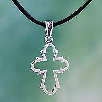 Sterling silver and leather pendant necklace, 'Holy Trinity Cross' - Sterling Silver Cross and Leather Pendant Necklace Mexico