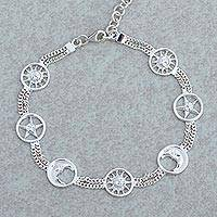 Rhodium plated sterling silver station bracelet, 'Faces in the Sky' - Rhodium Plated Sterling Silver Station Bracelet from Mexico