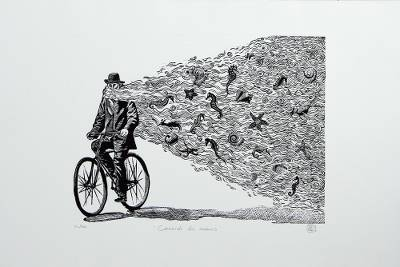 'Creating the Oceans' - Surrealist Etched Print of a Man and Sea Life from Mexico