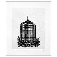 'The Birds Are In Their Place' - Limited Edition Etched Print of a Bird Cage from Mexico