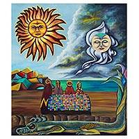 'Nuptial Banquet' - Surrealist Painting of Sun Moon and Lizard from Mexico