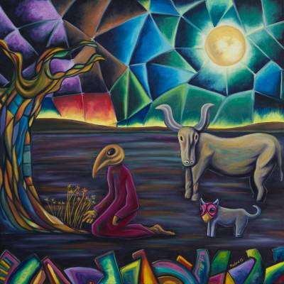'My Personal Eden' - Surrealist Painting of Tree Sun and Animals from Mexico