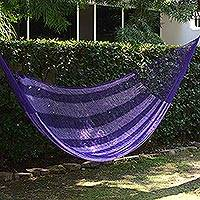 Hammock, 'Lilac Blossom' (double) - Lilac Striped Double Nylon Hammock from Mexico