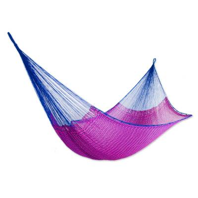 Hand Woven Pink and Blue Nylon Hammock from Mexico (Double)