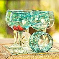 Blown wine glasses, 'Elegant Aqua Swirl' (set of 6) - Set of 6 Recycled Hand Blown Aqua Wine Glasses from Mexico