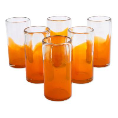 Blown glass tumblers, 'Orange Waves' (set of 6) - 6 Hand Blown Recycled Glass Orange Tumbler Set from Mexico