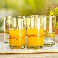 Blown glass highball, 'Ribbon of Sunshine' (set of 6) - Set of 6 Blown Recycled Glass Tumblers with Orange Stripe