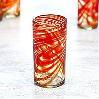 Blown glass highball, 'Crimson Serpentines' (set of 6) - Set of 6 Hand Blown Recycled Glass Red Highball Glasses
