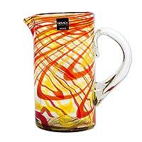 Blown glass pitcher, 'Fantastic Swirls in Orange' - Artisan Blown Recycled Glass Pitcher in Orange from Mexico