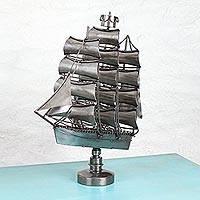 Recycled auto parts sculpture, 'Frigate' - Handcrafted Recycled Auto Parts Sculpture from Mexico