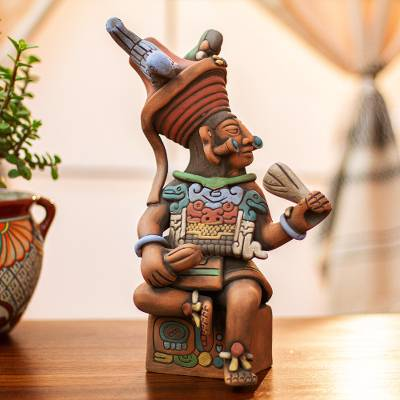 Ceramic sculpture, 'Maya Governor of Uaxactun' - Original Signed Ceramic Sculpture of Antique Maya Governor
