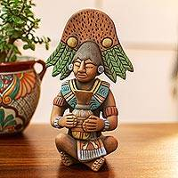 Ceramic sculpture, 'Maya with Chu Vessel' - Antique Maya Man Original Ceramic Sculpture Signed by Artist