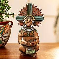 Ceramic sculpture, 'Maya with Pot' - Highly Detailed Original Ceramic Sculpture of a Maya Man