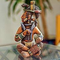 Ceramic sculpture, 'Palenque Lord' - Original Ceramic Sculpture of a Maya Lord from Palenque
