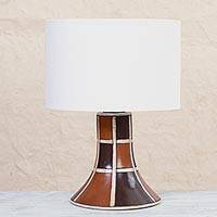 Ceramic table lamp, 'Retro Grid' - Burnished Ceramic Table Lamp in Brown from Mexico
