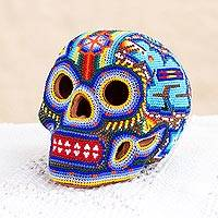 Glass beaded ceramic sculpture, 'Huichol Serpent Skull' - Glass Beaded Huichol Serpent Skull Sculpture from Mexico