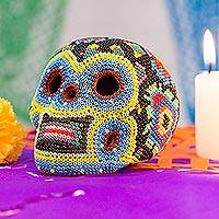 Glass beaded ceramic sculpture, 'Huichol Dandelion Skull' - Glass Beaded Huichol Dandelion Skull Sculpture from Mexico