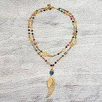 Gold plated agate pendant necklace, 'Colorful Wing' - 24k Gold Plated Agate Pendant Necklace from Mexico