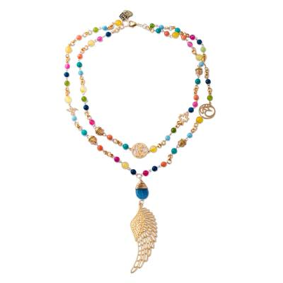 24k Gold Plated Agate Pendant Necklace from Mexico