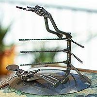 Recycled auto parts sculpture, 'Wrestling Match' - Recycled Auto Parts Sculpture of Wrestlers