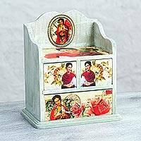 Decoupage wood jewelry chest, 'Frida Rose' - Pinewood Decoupage Frida Kahlo Jewelry Chest from Mexico