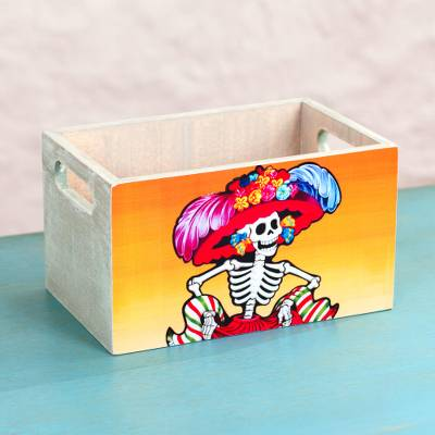 Decoupage wood decorative crate, 'Catrina Ballerina' - Dancing Skeleton Mexican Decoupage Pinewood Decorative Crate
