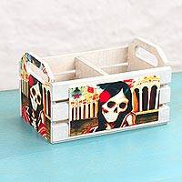 Decoupage wood crate, 'Braided Catrina' - Pinewood Decoupage Catrina Skeleton Crate from Mexico