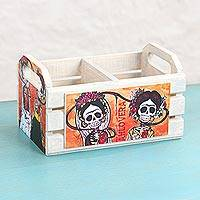 Decoupage wood crate, 'Frida Kahlovera' - Decoupage Pinewood Decorative Box with Skeletons from Mexico