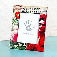 Decoupage wood photo frame, 'Passionate Frida' (5x7) - 5x7 Decoupage on Pinewood Mexican Frida Kahlo Photo Frame