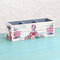 Decoupage wood bottle holder, 'Pink Frida' - Decoupage Pinewood Floral Frida Kahlo Mexican Bottle Holder