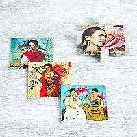 Decoupage wood coasters, 'Life of Frida' (set of 4) - Four Square Mexican Decoupage Pinewood Frida Kahlo Coasters