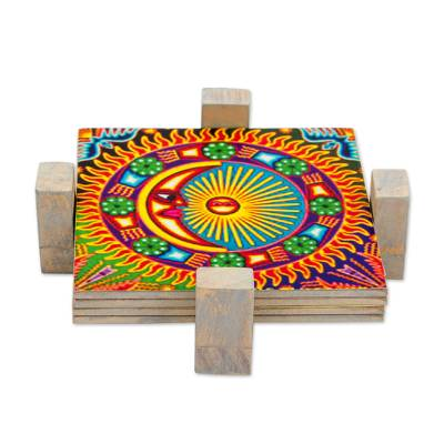 Four Decoupage Pinewood Mexican Sun and Moon Motif Coasters