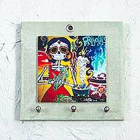 Decoupage wood key rack, 'Catrina Chef' - Day of the Dead Decoupage Pinewood Key Rack from Mexico