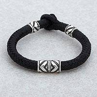 Sterling silver and leather braided wristband bracelet, 'Mexican Geometry' - Sterling Silver and Leather Wristband Bracelet from Mexico