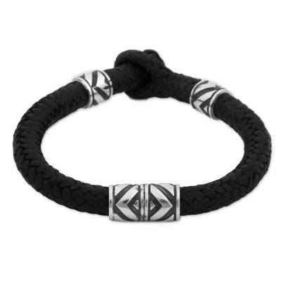 Sterling Silver and Leather Wristband Bracelet from Mexico