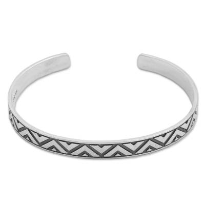 Sterling Silver Triangle Motif Cuff Bracelet from Mexico