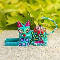 Wood sculpture, 'Excited Cat in Teal' - Copal Wood Alebrije Cat Sculpture in Teal from Mexico